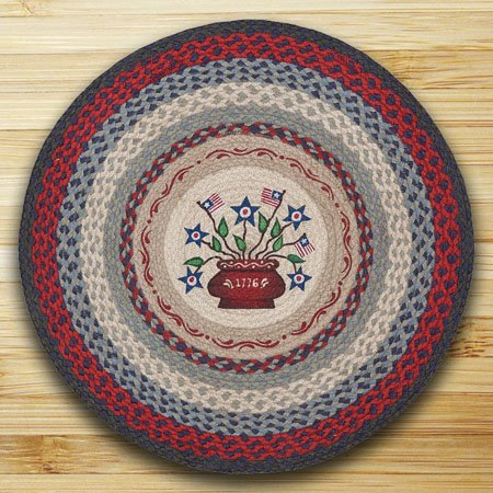"Americana Bouquet Braided and Printed Round Rug 27""x27"" Thumbnail"
