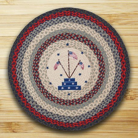 "Flag Stand Braided and Printed Round Rug 27""x27"" Thumbnail"