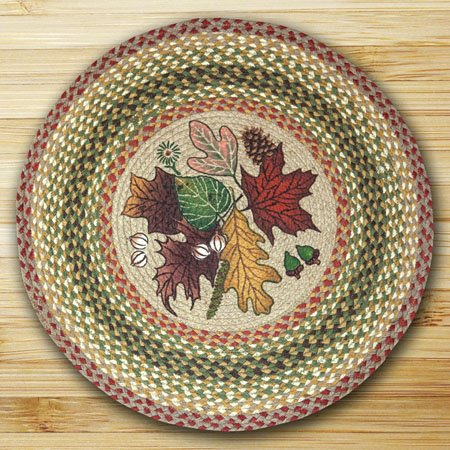 "Autumn Leaves Braided and Printed Round Rug 27""x27"" Thumbnail"