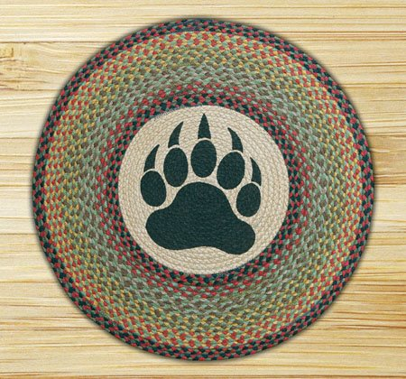 "Bear Paw Braided and Printed Round Rug 27""x27"" Thumbnail"