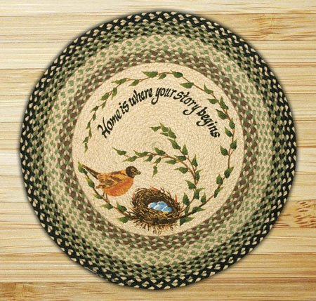 "Robins Nest Braided and Printed Round Rug 27""x27"" Thumbnail"