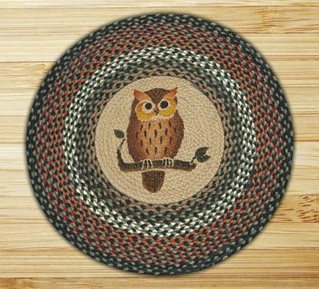 "Owl Braided and Printed Round Rug 27""x27"" Thumbnail"