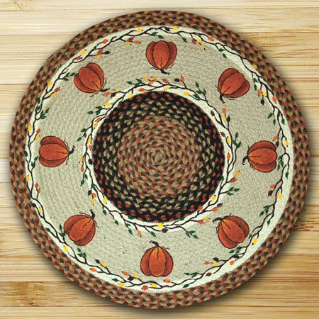 "Harvest Pumpkin Braided and Printed Round Rug 27""x27"" Thumbnail"