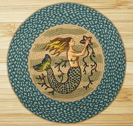 "Mermaid Braided and Printed Round Rug 27""x27"" Thumbnail"