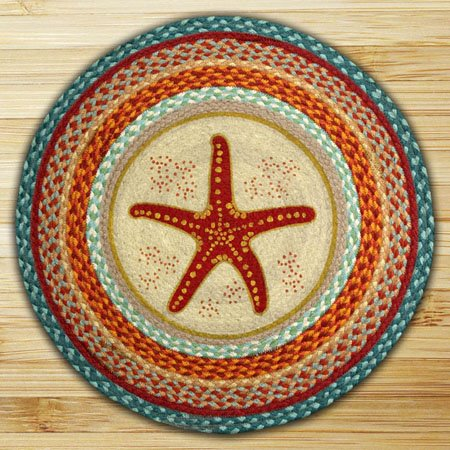 "Star Fish Braided and Printed Round Rug 27""x27"" Thumbnail"