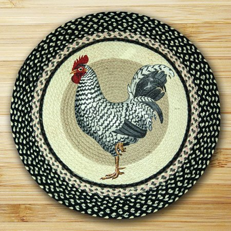 """Rooster Braided and Printed Round Rug 27""""x27"""" Thumbnail"""