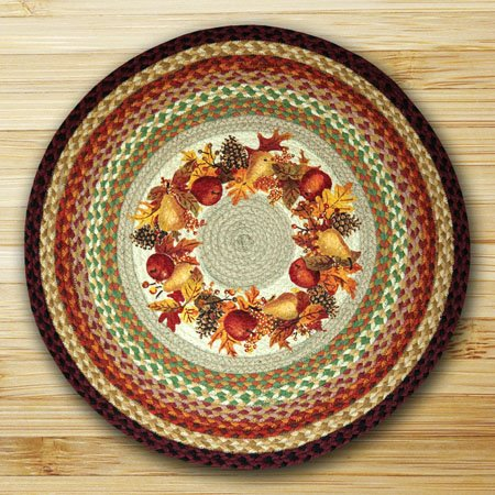 "Autumn Wreath Braided and Printed Round Rug 27""x27"" Thumbnail"
