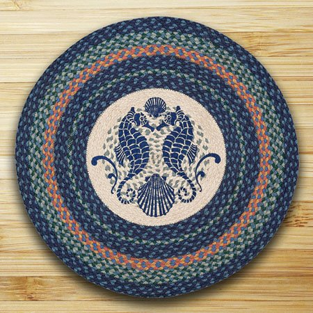 "Shell Coast Seahorse Braided and Printed Round Rug 27""x27"" Thumbnail"