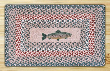 "Fish Braided and Printed Rectangle Rug 20""x30"" Thumbnail"