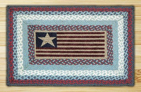 "Flag Braided and Printed Rectangle Rug 20""x30"" Thumbnail"