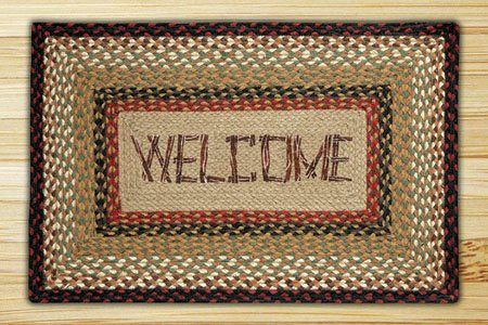 """Welcome Braided and Printed Rectangle Rug 20""""x30"""" Thumbnail"""