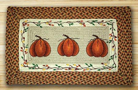 "Harvest Pumpkin Rectangular Braided Rug 20""x30"" Thumbnail"