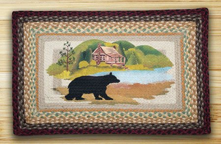 """Cabin Bear Braided and Printed Rectangle Rug 20""""x30"""" Thumbnail"""
