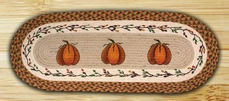 Harvest Pumpkin Braided and Printed Oval Rug 2'x6' Thumbnail