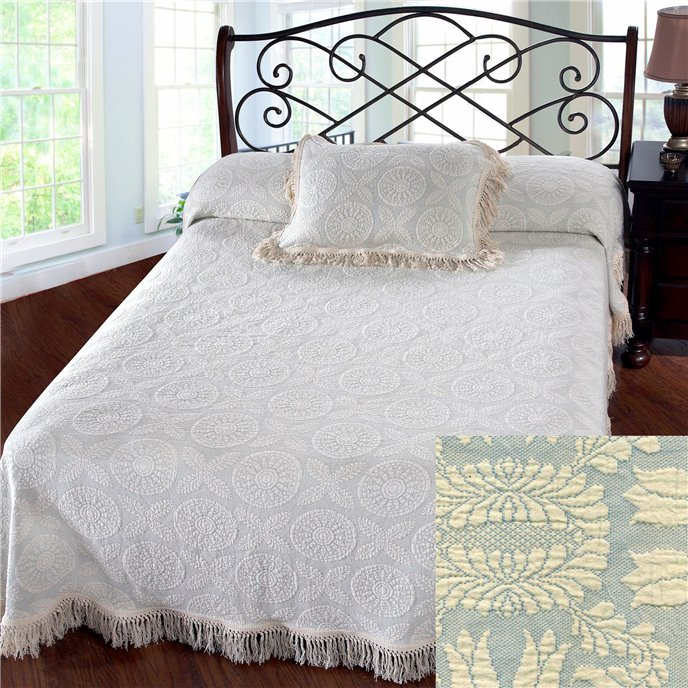 Heirloom Queen French Blue Bedspread Thumbnail