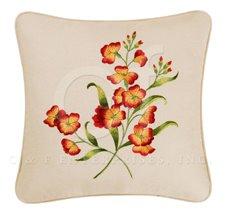 Terra Cotta Primrose Flowers Pillow Thumbnail
