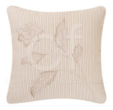 Beige Stripes 4 Leaf Embroidered Flower Pillow Thumbnail