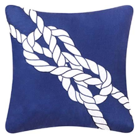 Navy Rope Knot Pillow Thumbnail