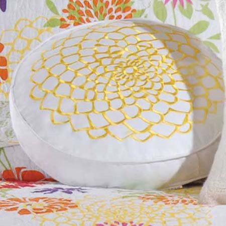 Lilly Embroidered Flower Pillow Thumbnail