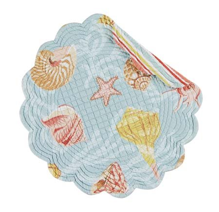 St Martin Blue Round Quilted Placemat Thumbnail