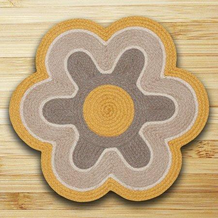"""Marigold & Natural Flower Shaped Rug 27""""x27"""" Thumbnail"""