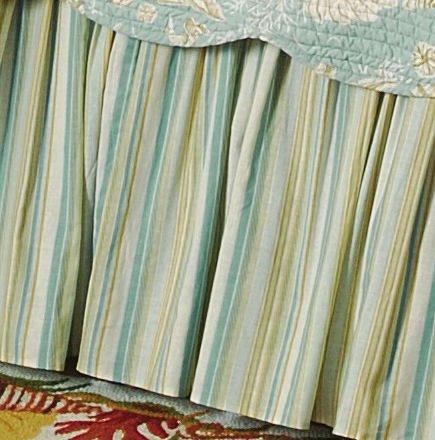 Aqua & Tan Stripes Bedskirt Full Size Thumbnail