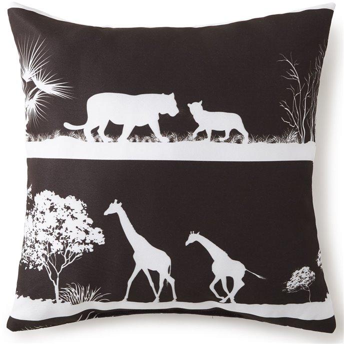 "African Safari Square Pillow 18""x18"" - Black Safari Thumbnail"