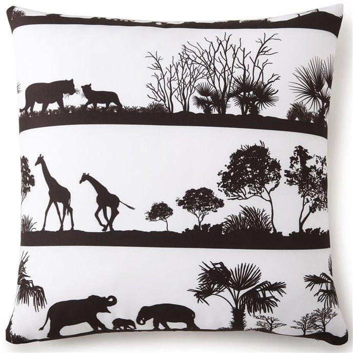 African Safari Euro Sham - White Background, Black Print Thumbnail