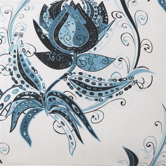 Tropical Bloom Fabric Per Yard - White With Blue Print Thumbnail