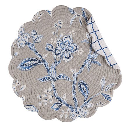 Annabelle Blue Round Quilted Placemat Thumbnail