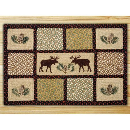 "Moose / Pinecone Rectangle Quilt Patch Braided Rug 20""x30"" Thumbnail"