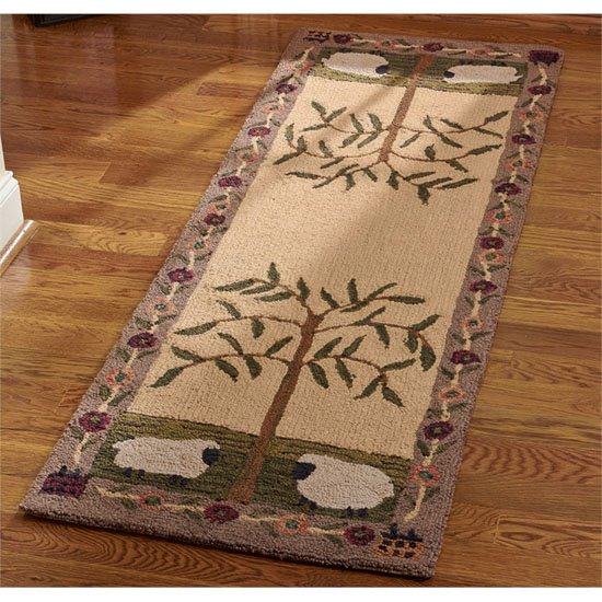 Willow and Sheep Hooked Rug Runner 24x72 Thumbnail