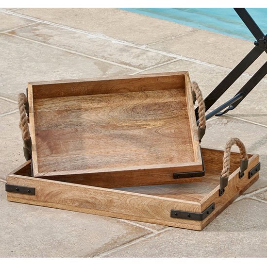 Tray with Rope Handles set of 2 Thumbnail