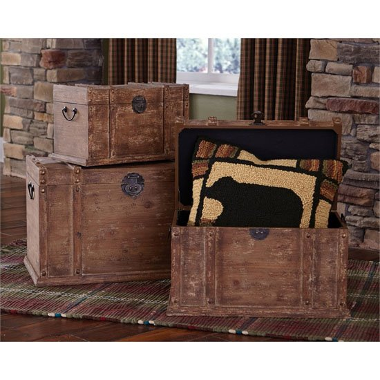 Distressed Wood Trunk set of 3 Thumbnail