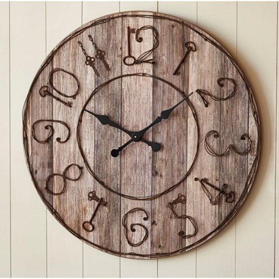Pieced Wood Clock with Key Numbers Thumbnail