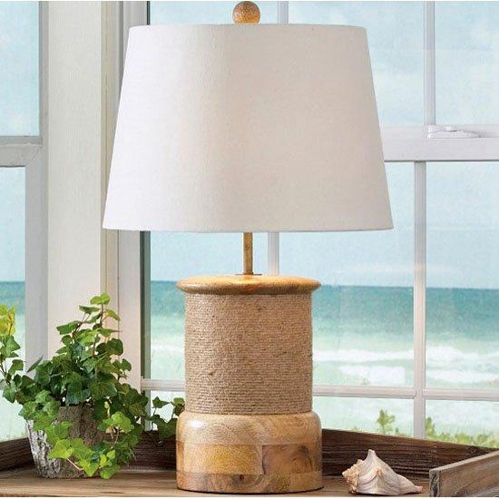 Rope Wrap Wood Lamp with Shade Thumbnail