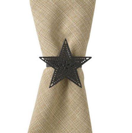 Black Star Napkin Ring - Pierced Thumbnail