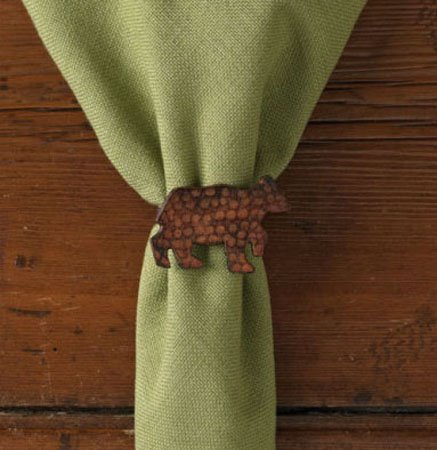 Bear Napkin Ring Brown Patina Thumbnail
