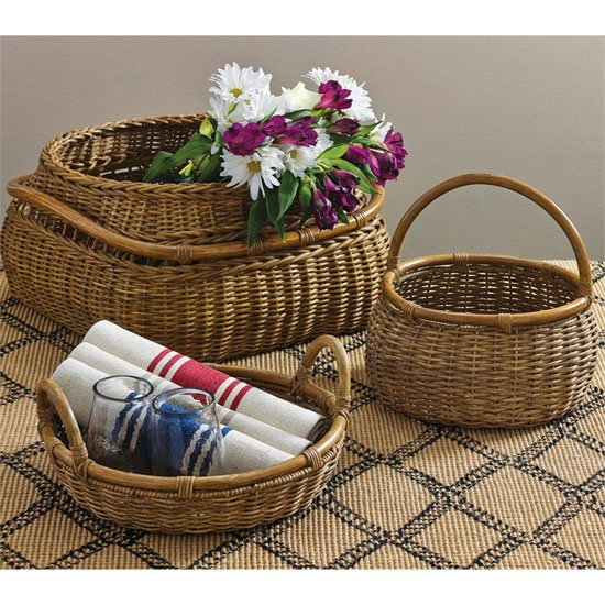Artisan Baskets With Rattan Handles Set Of 3 Thumbnail