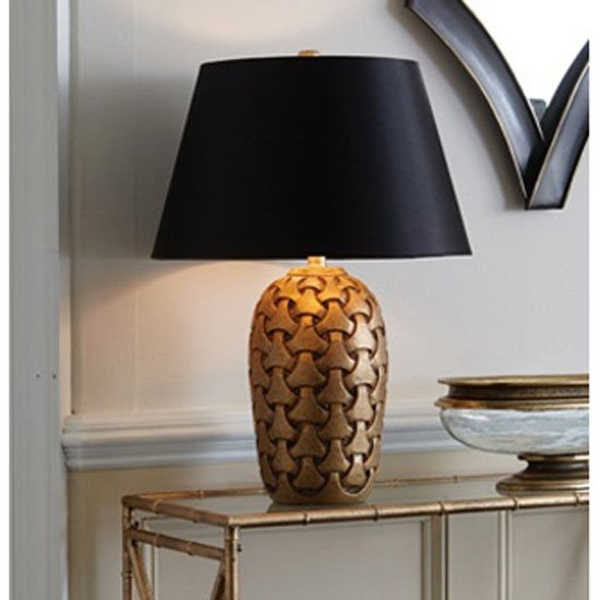 Golden Carved Wood Lamp Thumbnail