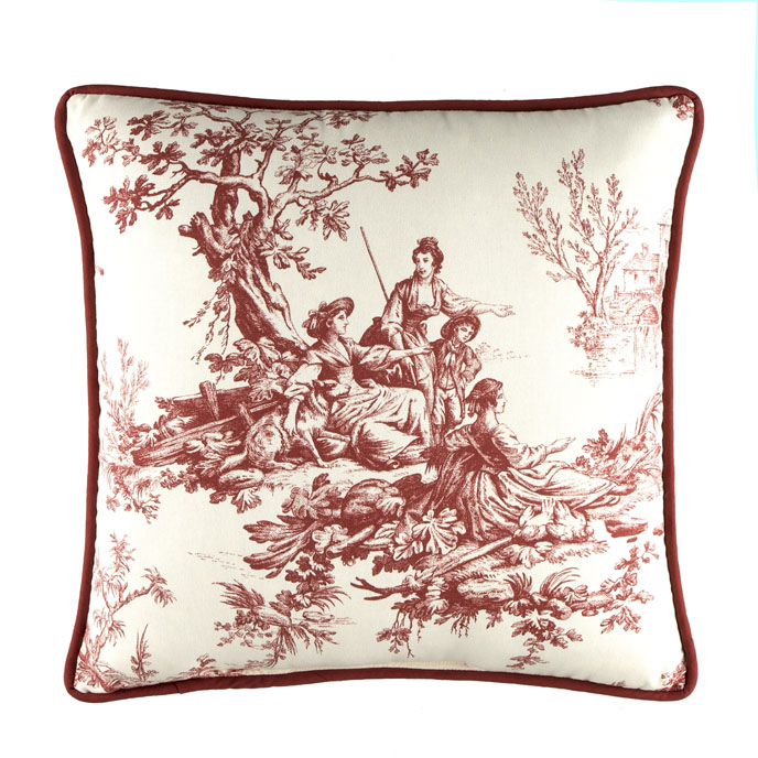 "Bouvier Red 18"" Square Pillow Thumbnail"