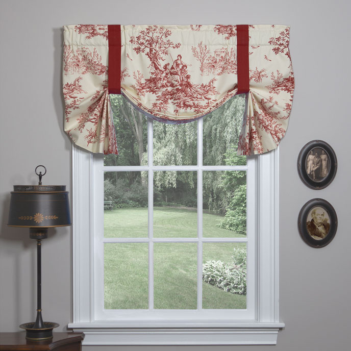 Bouvier Red Tie Up Curtain Thumbnail
