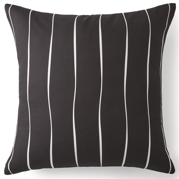 Toile Back In Black Euro Sham - Black & White Stripe Thumbnail