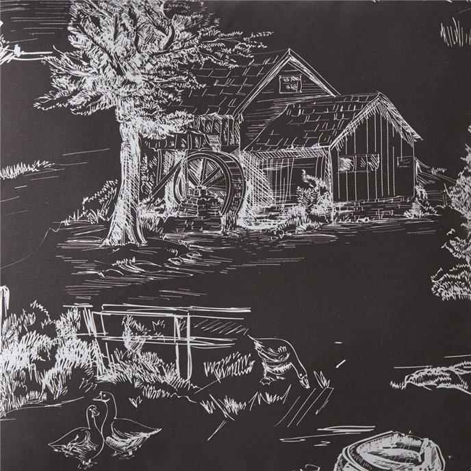 Toile Back In Black Drapery Panels Each -Black Background, White Print Thumbnail