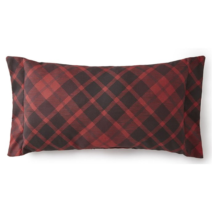 Toile Back In Black Long Rectangle Pillow - Red Plaid Thumbnail