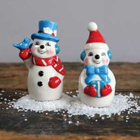 Retro Mr. & Mrs. Snowman Salt & Pepper Set Thumbnail