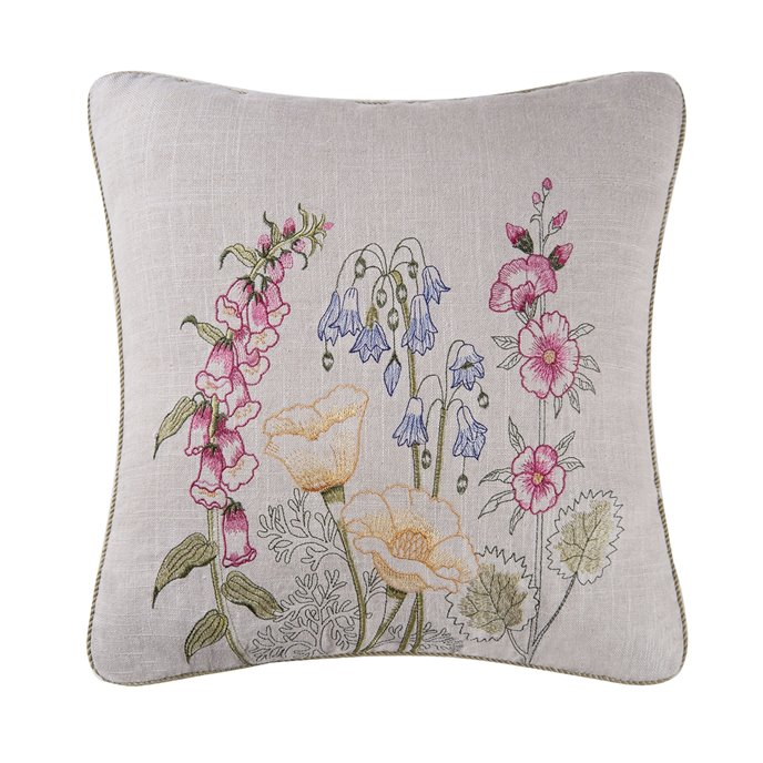Jeanette Embroidered Pillow with yellow poppies Thumbnail