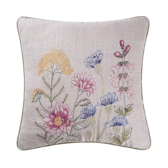 Jeanette Embroidered Pillow with blue bachelor buttons Thumbnail