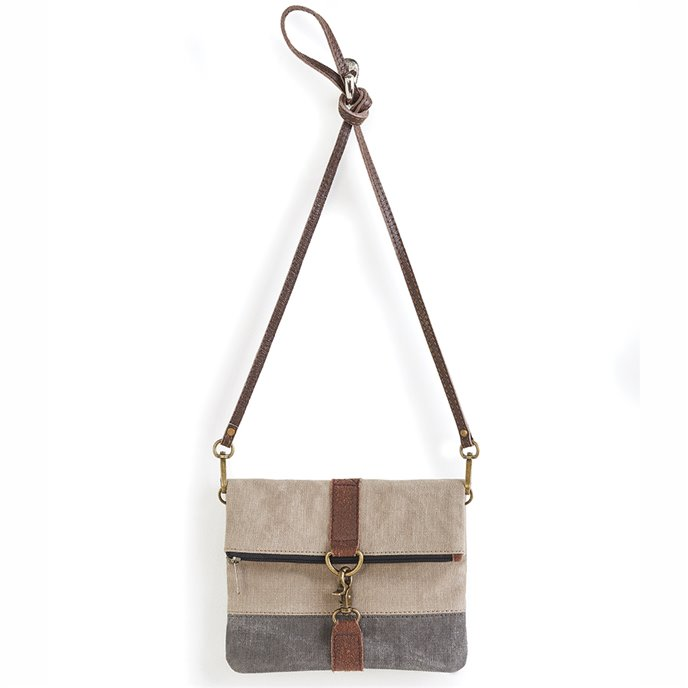 Mona B. Finley Fold-over Crossbody Bag - Stone Thumbnail
