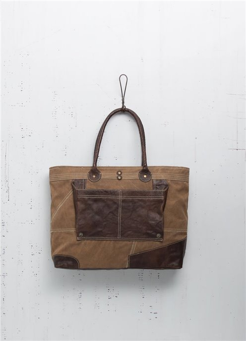 Mona B. Dakota Rawhide Canvas Shoulder Bag Thumbnail